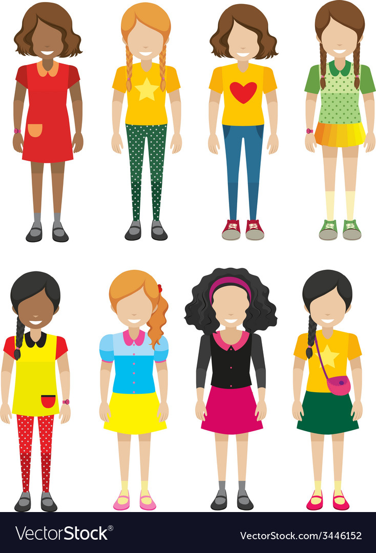 A group of faceless but smiling kids vector | Price: 3 Credit (USD $3)
