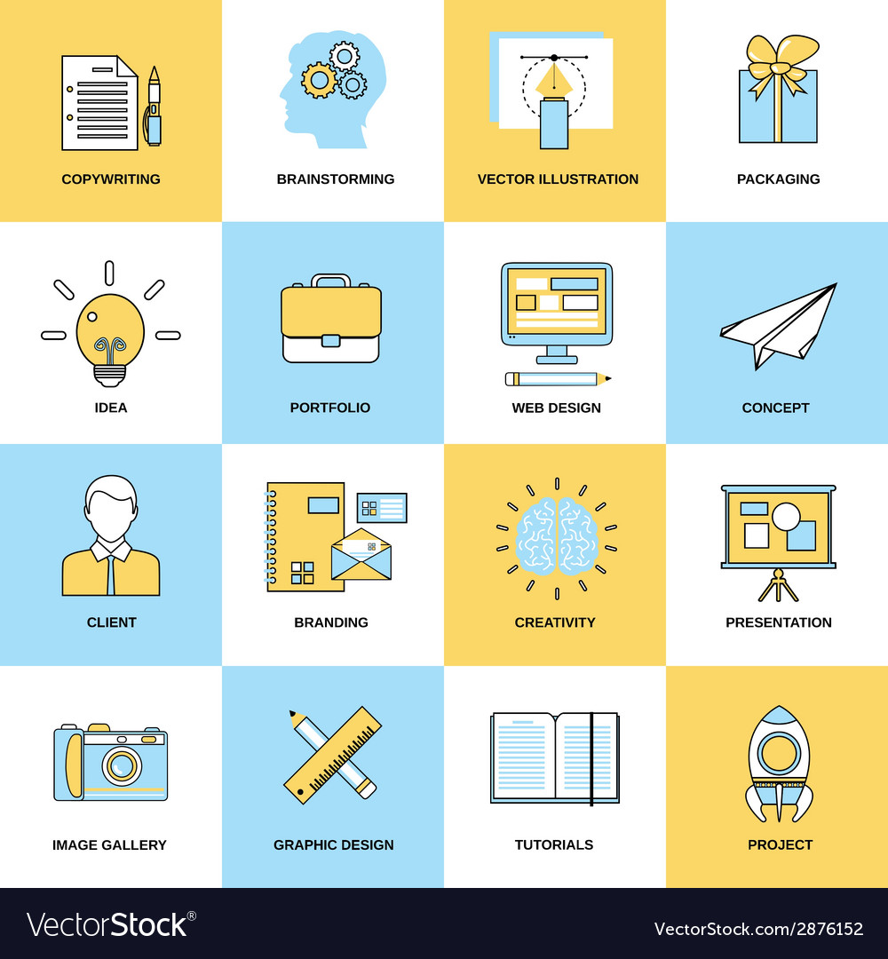 Advertising flat line icons vector | Price: 1 Credit (USD $1)