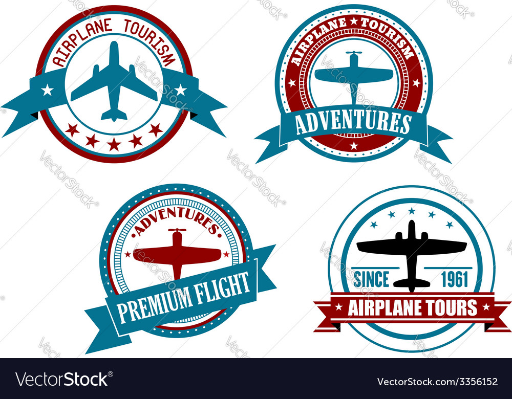 Airplane tours and adventures badges vector | Price: 1 Credit (USD $1)