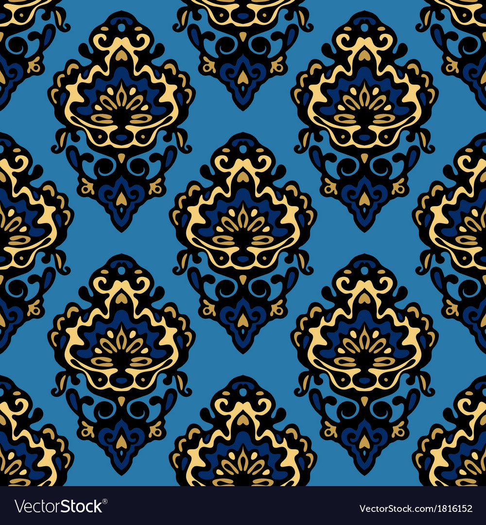 Damask blue flower seamless patter vector | Price: 1 Credit (USD $1)