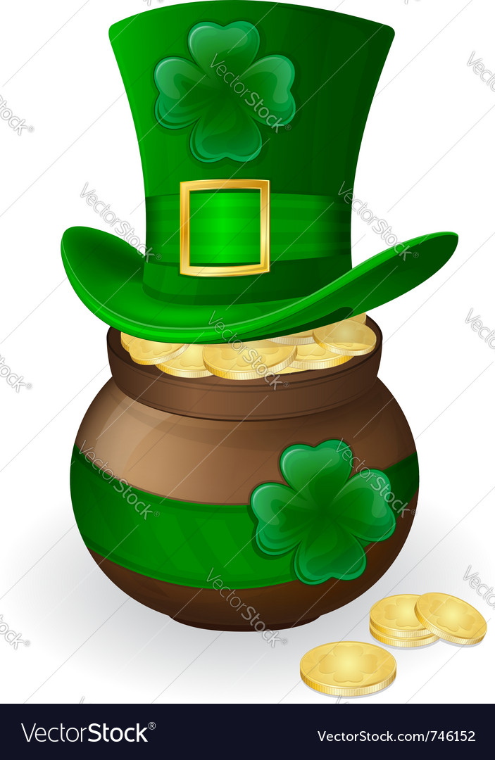 For st patricks day green hat with shamrock and po vector | Price: 1 Credit (USD $1)