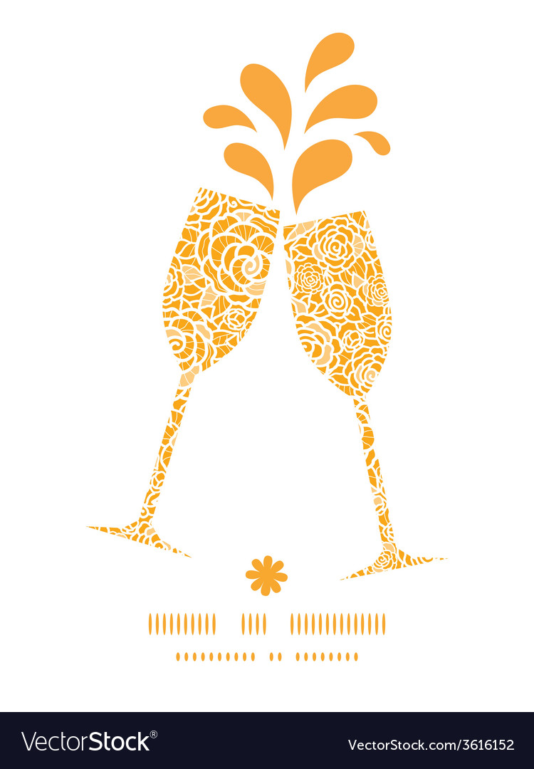 Golden lace roses toasting wine glasses vector | Price: 1 Credit (USD $1)