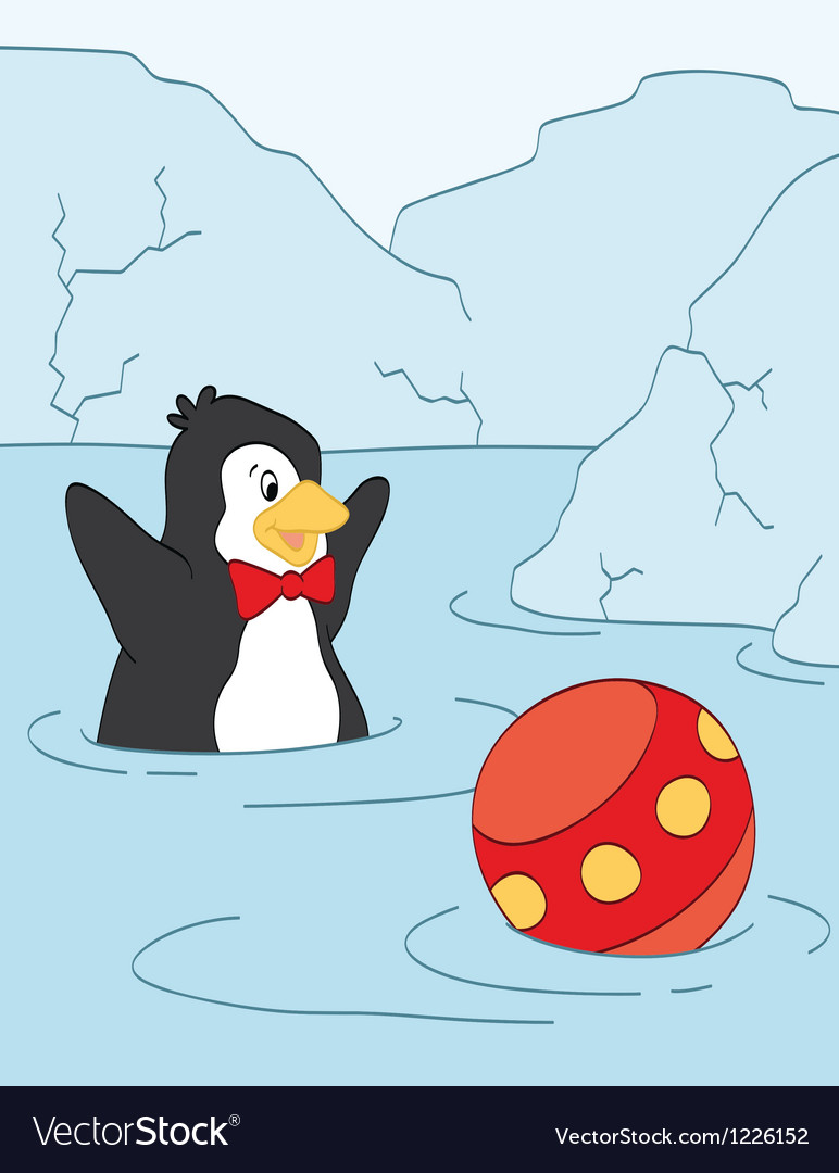 Penguin playing vector | Price: 1 Credit (USD $1)