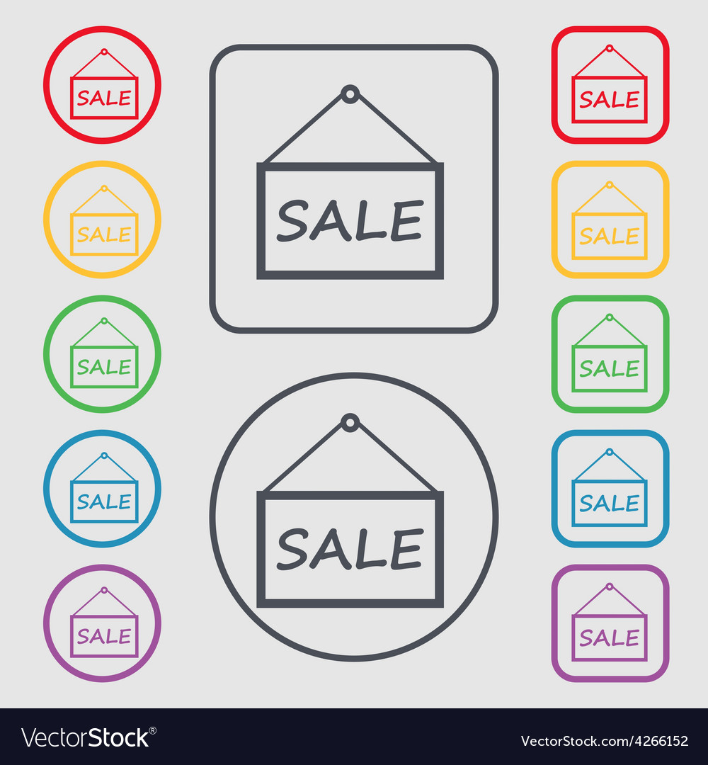 Sale tag icon sign symbol on the round and square vector | Price: 1 Credit (USD $1)