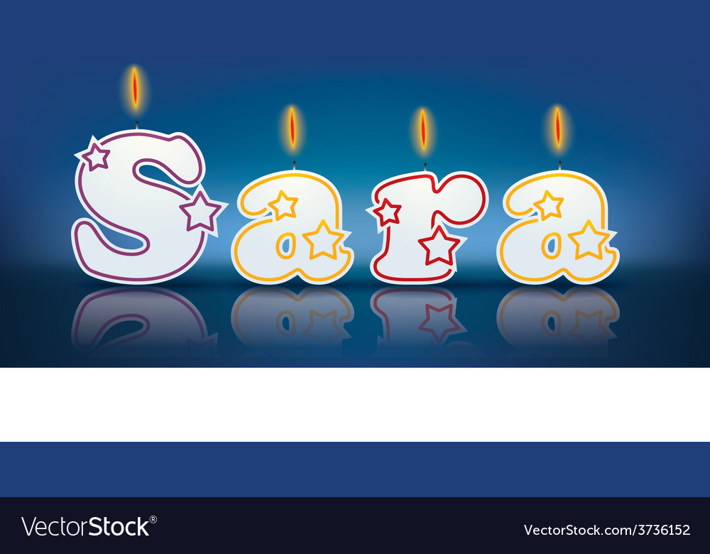 Sara written with burning candles vector | Price: 1 Credit (USD $1)