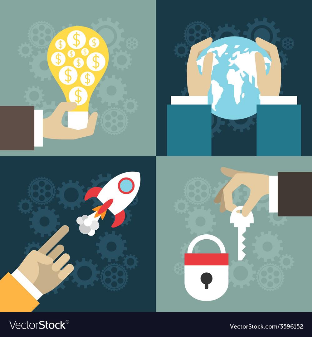 Set of flat design business illuatration startup vector | Price: 1 Credit (USD $1)