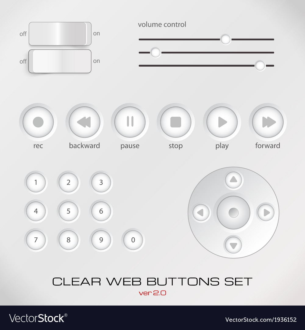Set of light media control buttons vector | Price: 1 Credit (USD $1)