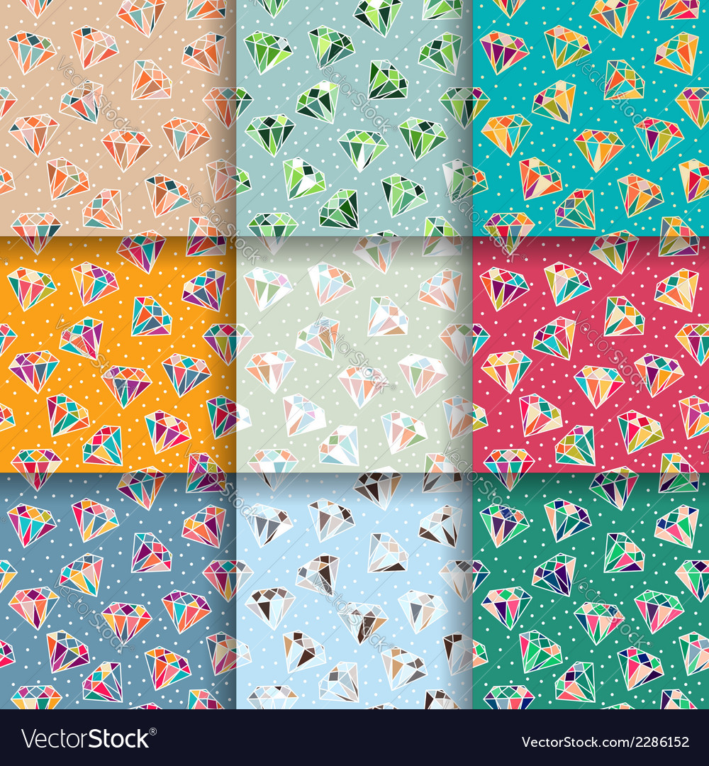 Set of seamless patterns with diamonds vector | Price: 1 Credit (USD $1)