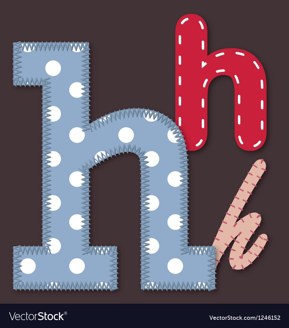 Set of stitched font - letter h vector | Price: 1 Credit (USD $1)