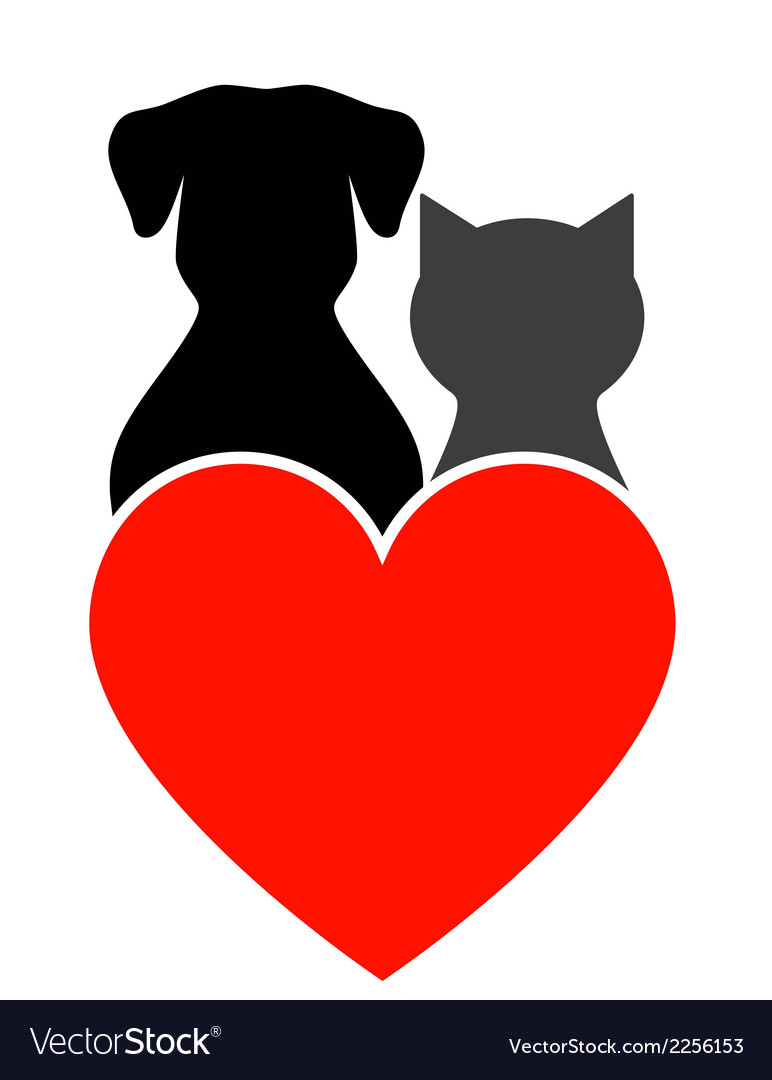 Dog cat and heart vector | Price: 1 Credit (USD $1)