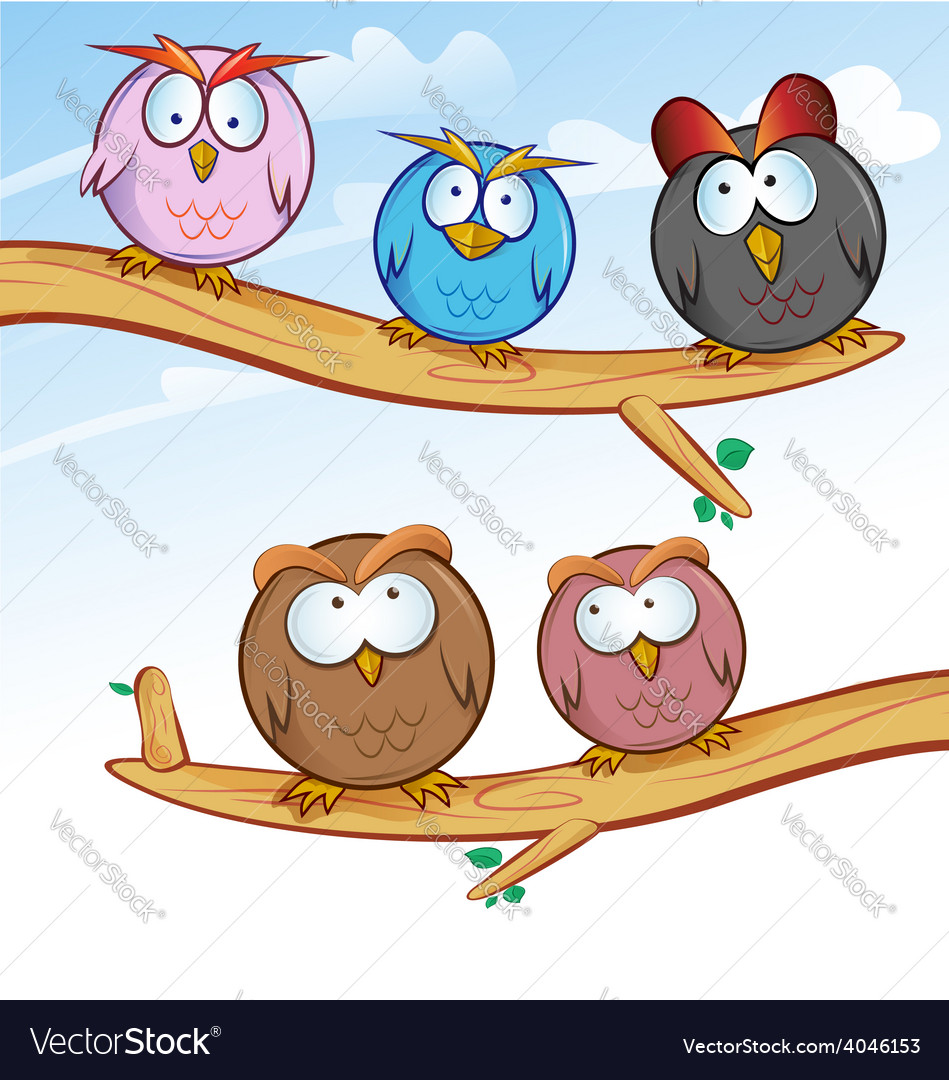Funny owl group cartoon on tree vector | Price: 1 Credit (USD $1)