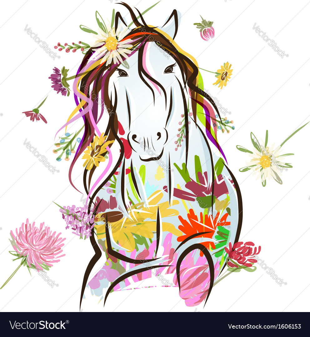 Horse sketch with floral decoration for your vector | Price: 1 Credit (USD $1)