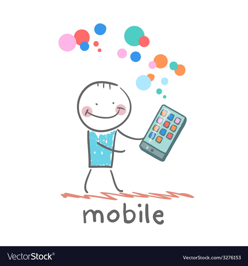 Man holds the best mobile vector   Price: 1 Credit (USD $1)