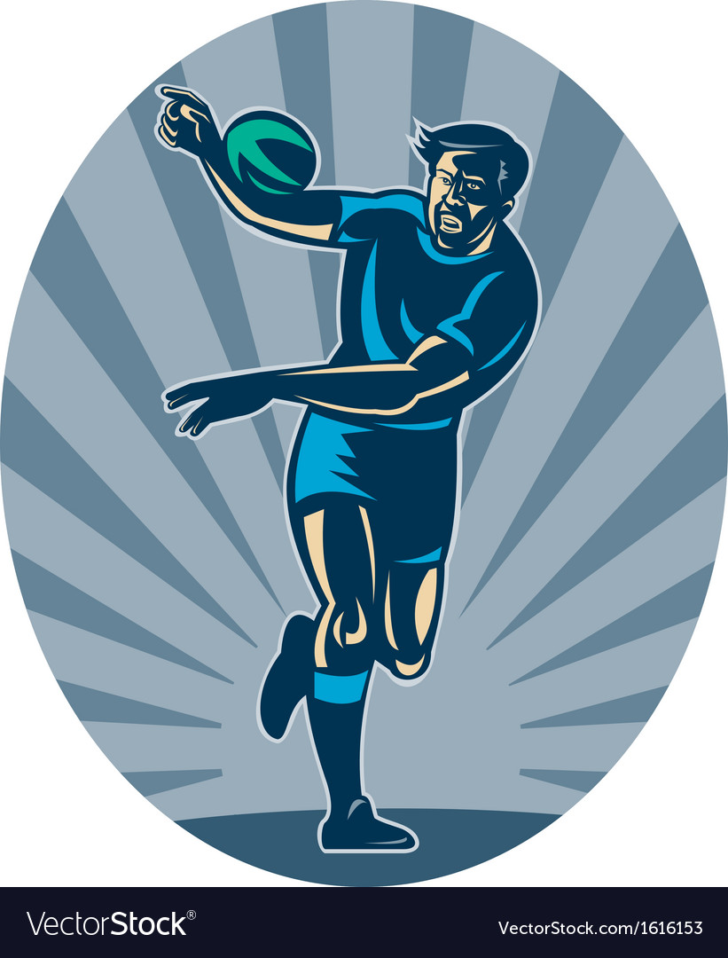 Rugby player running with ball and passing vector | Price: 1 Credit (USD $1)