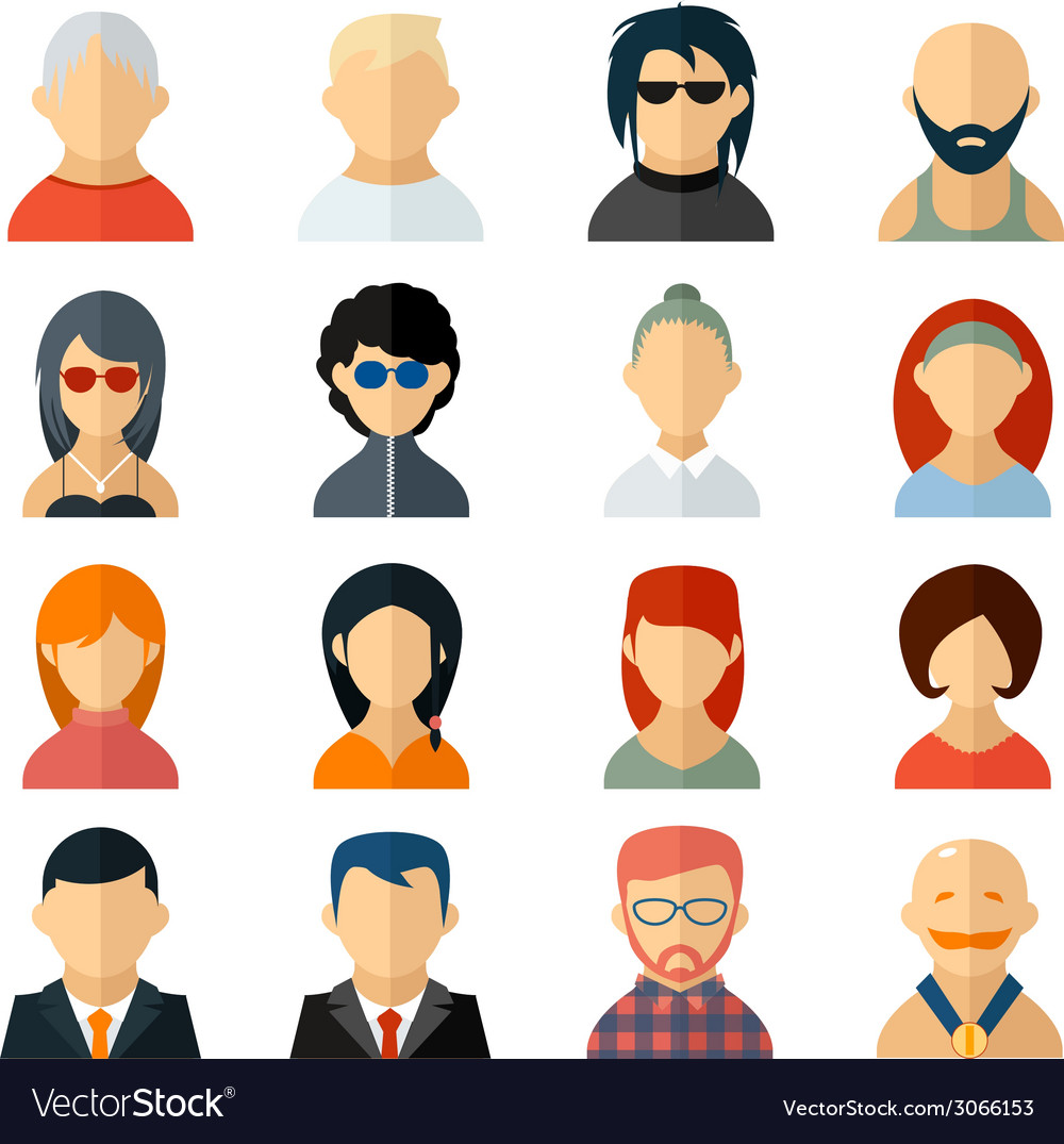 Set of user avatar icons in flat style vector | Price: 1 Credit (USD $1)