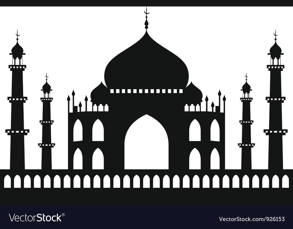 Taj-mahal temple silhouette vector | Price: 1 Credit (USD $1)