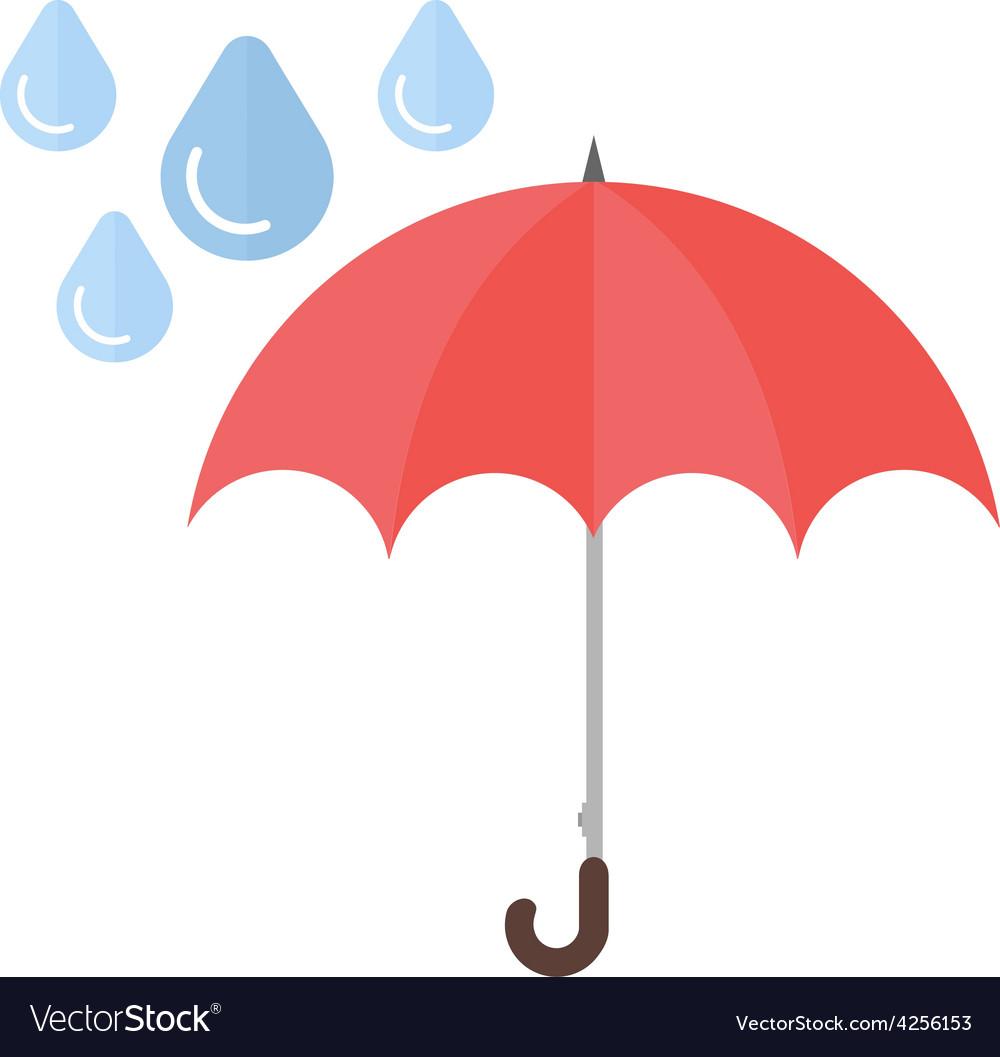 Umbrella with rain vector | Price: 1 Credit (USD $1)