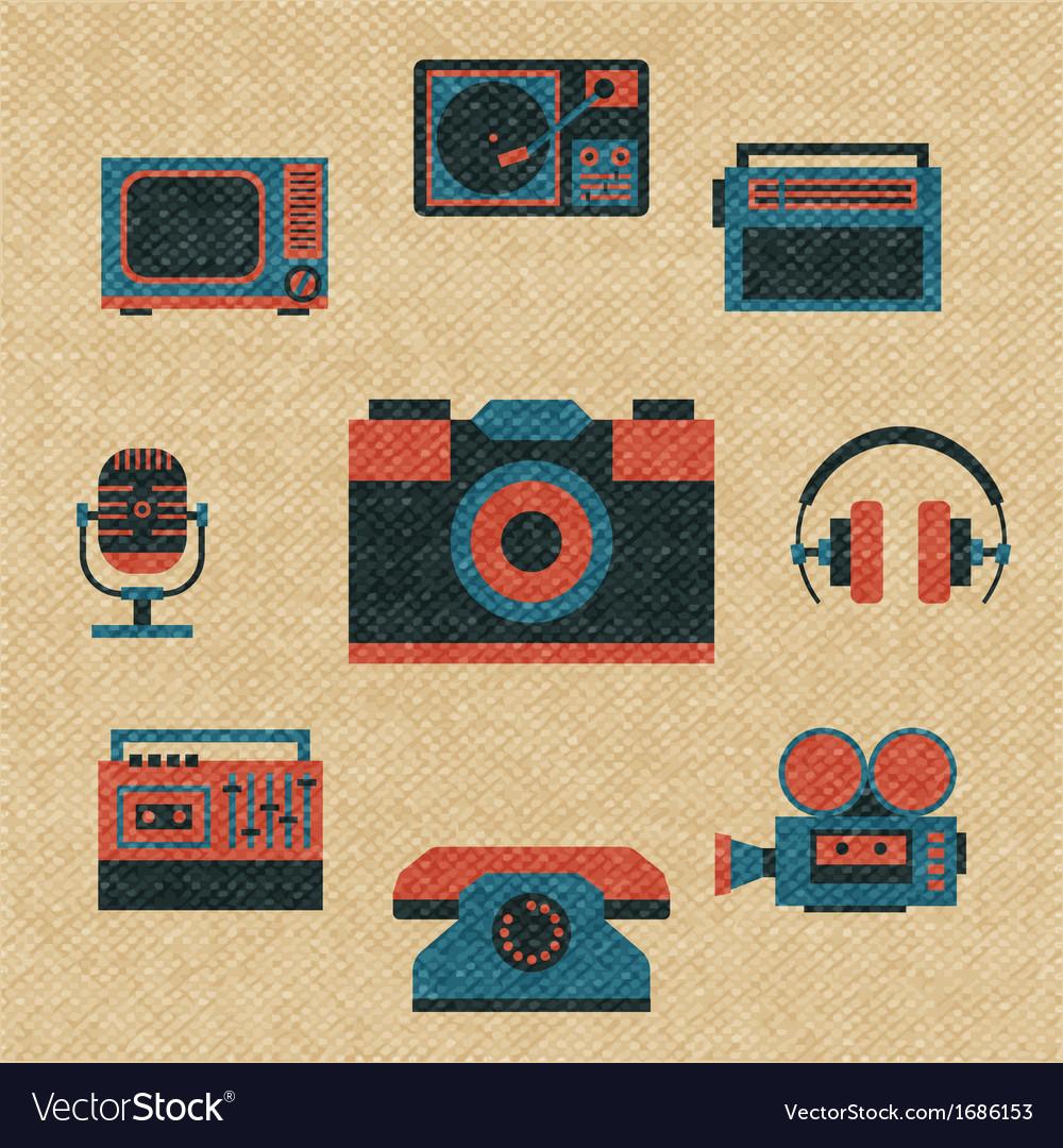 Vintage media icons vector | Price: 1 Credit (USD $1)