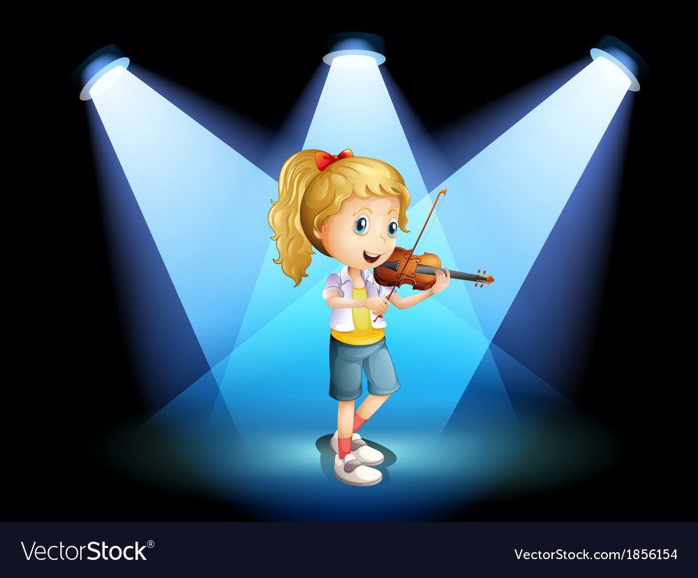 A stage with a young girl playing with her violin vector | Price: 3 Credit (USD $3)