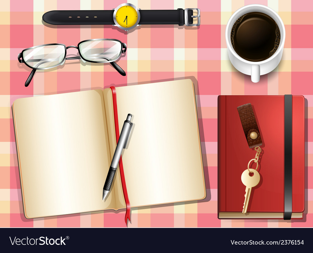 A topview of a table with many things vector | Price: 1 Credit (USD $1)