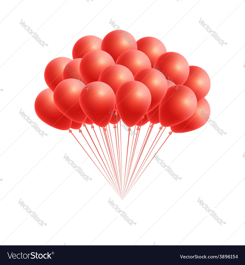 Bunch birthday or party red balloons vector   Price: 1 Credit (USD $1)