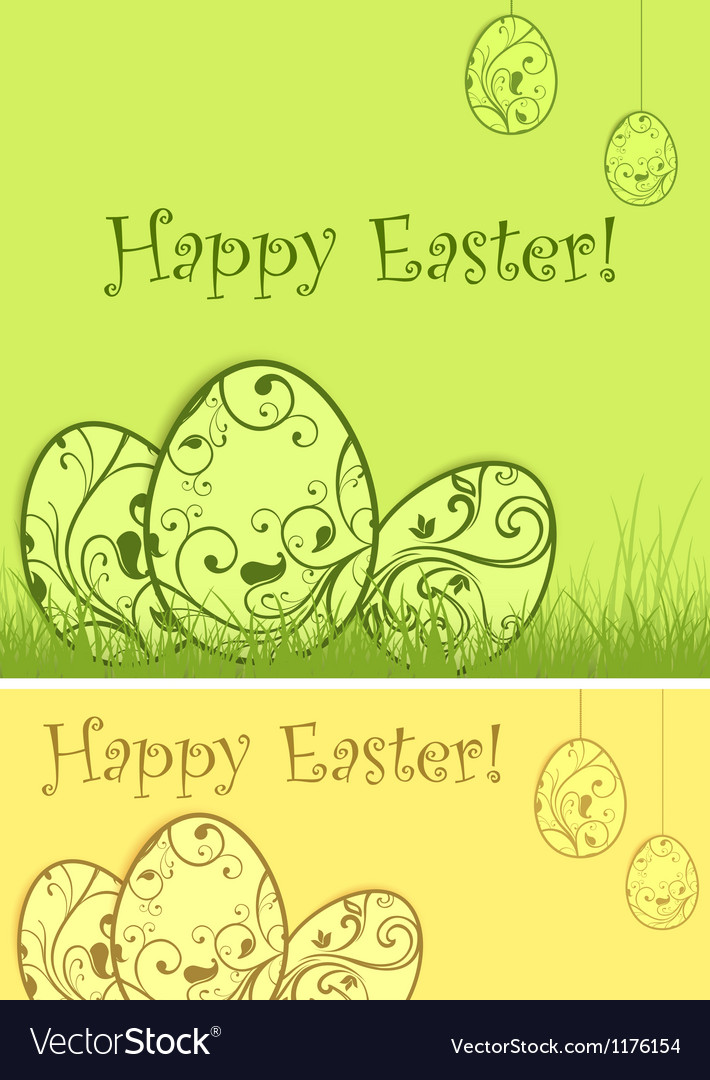 Easter eggs green grass vector | Price: 1 Credit (USD $1)
