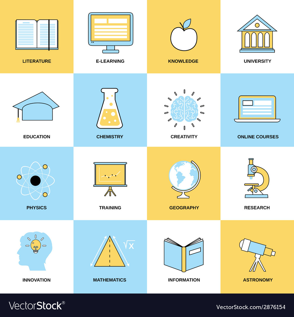 Education flat line icons vector | Price: 1 Credit (USD $1)