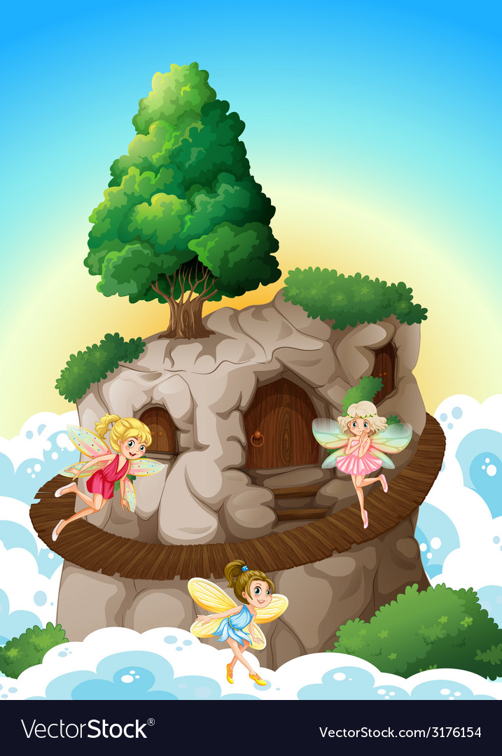 Fairies and cave vector | Price: 3 Credit (USD $3)
