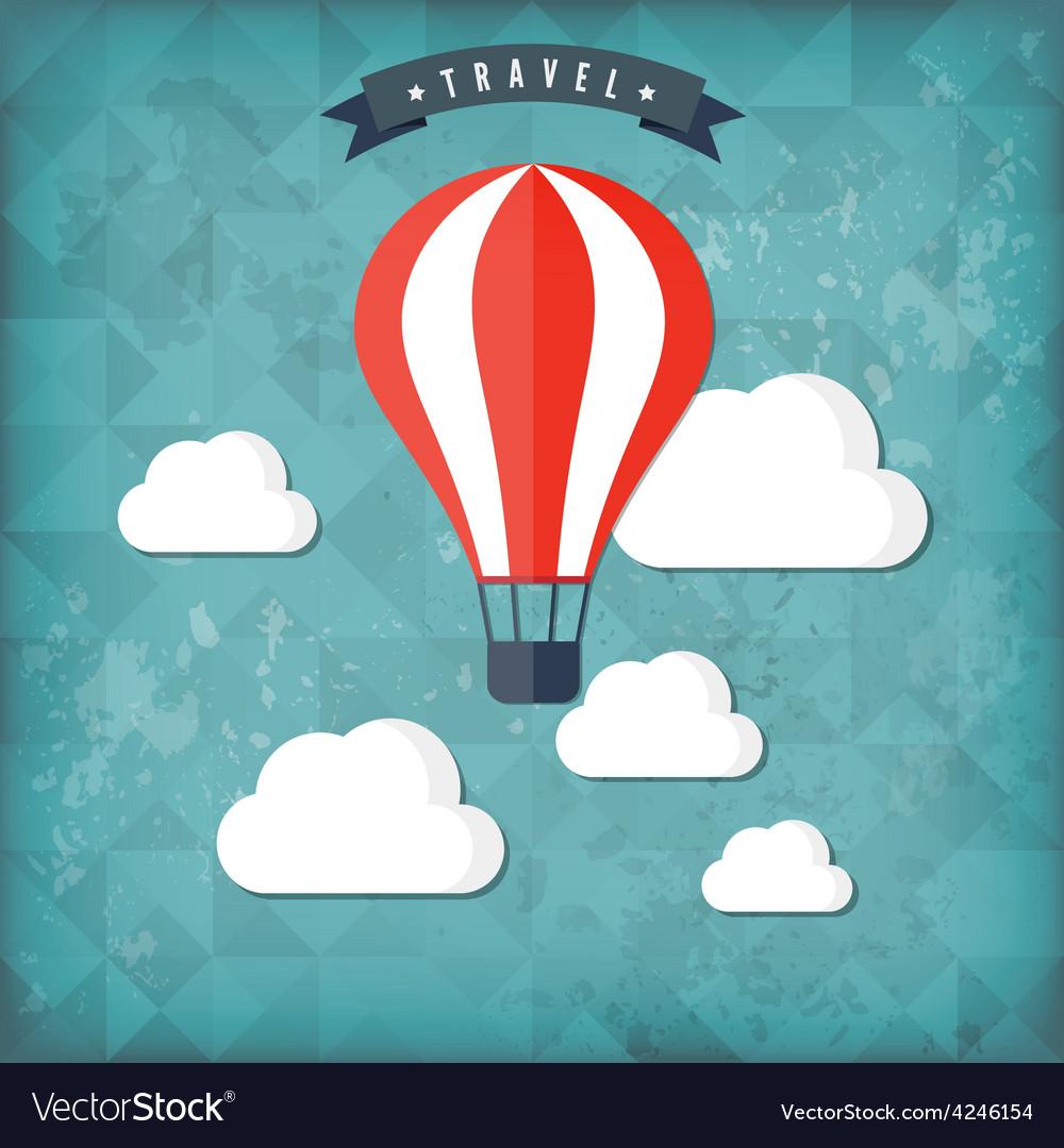 Flat air balloon web icon travel vintage vector | Price: 1 Credit (USD $1)