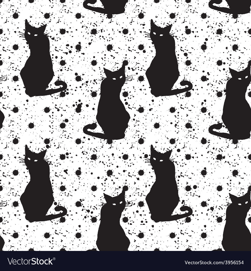 Hand drawn seamless pattern with black cats vector | Price: 1 Credit (USD $1)