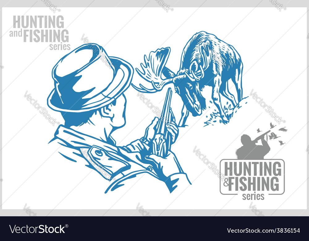 Hunter and elk - vintage vector | Price: 3 Credit (USD $3)
