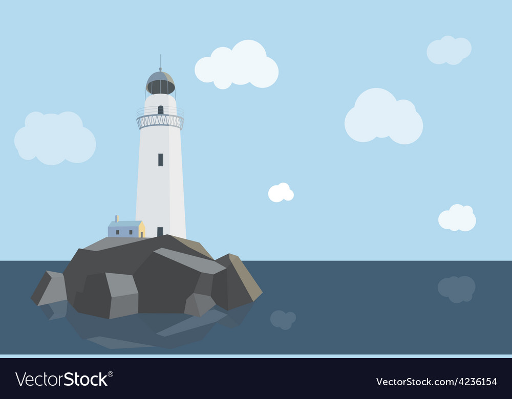 Lighthouse with barn on rocks by the sea  daytime vector | Price: 1 Credit (USD $1)