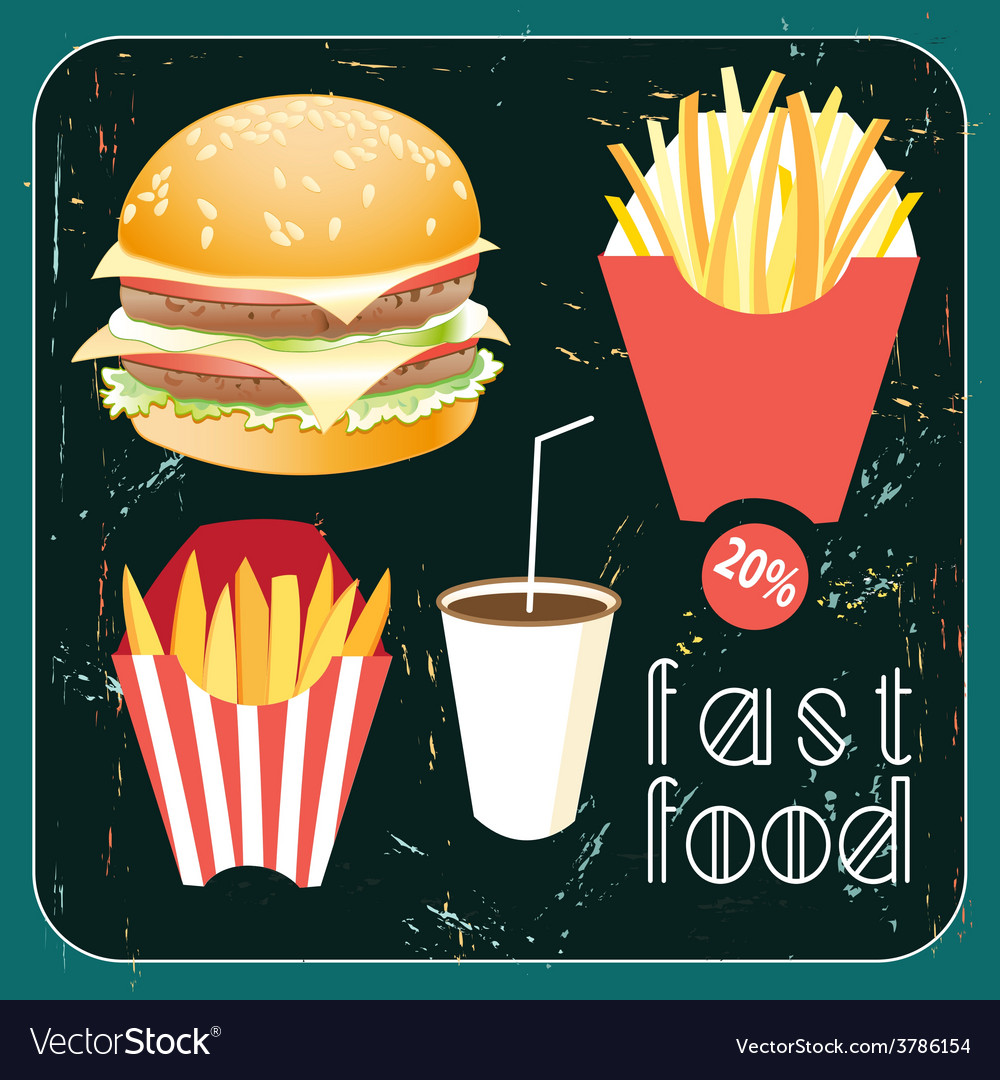Poster with food fast food vector | Price: 1 Credit (USD $1)