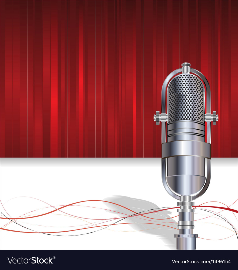 Retro microphone on red background vector | Price: 1 Credit (USD $1)