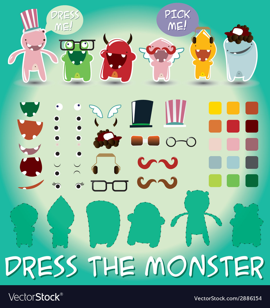 Set of cute little monsters for dress up vector | Price: 1 Credit (USD $1)