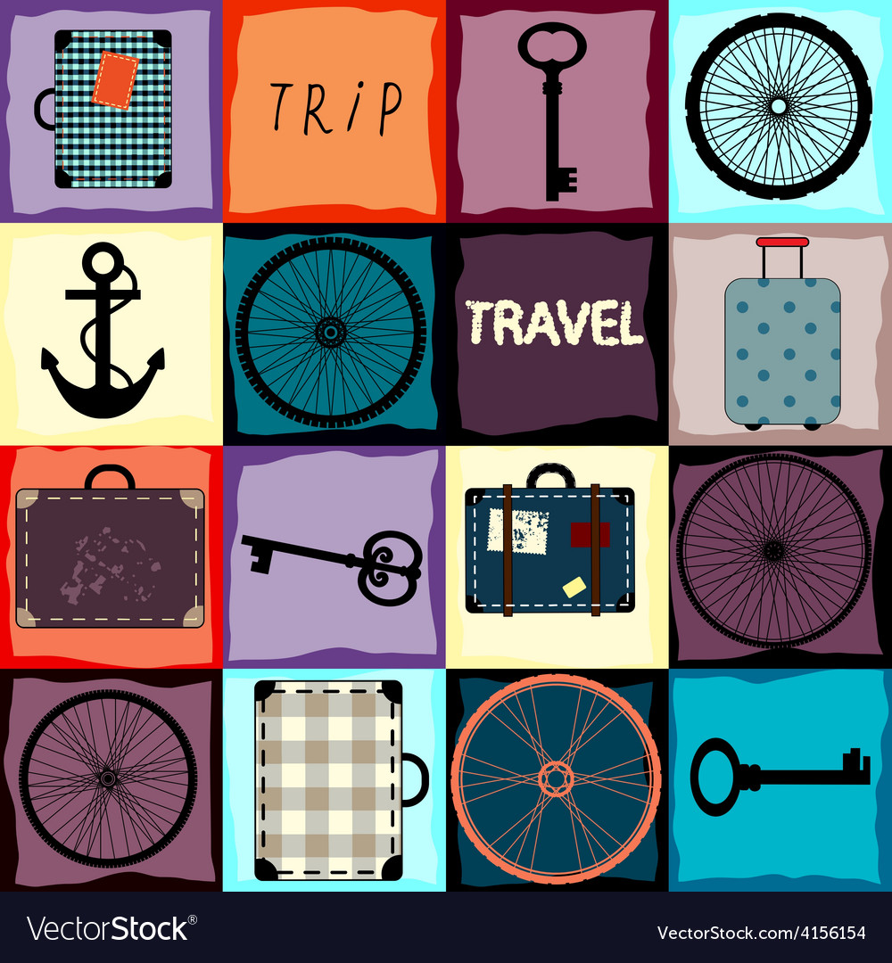 Travel background with wheels and suitcases vector | Price: 1 Credit (USD $1)