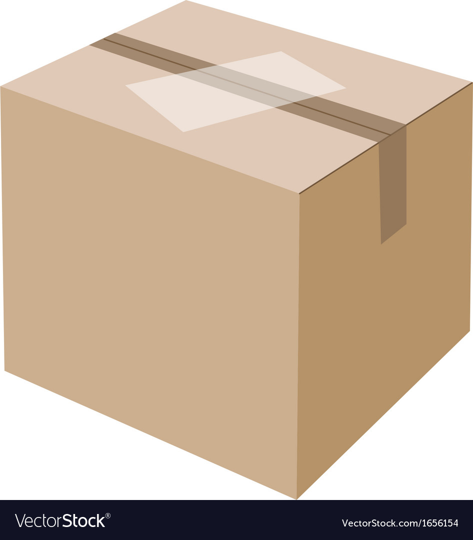 White label on blank brown cardboard box vector | Price: 1 Credit (USD $1)