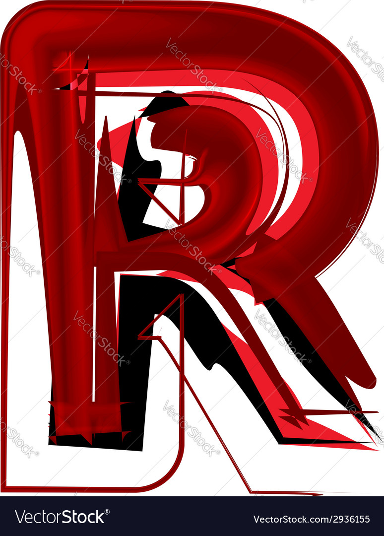 Artistic font letter r vector | Price: 1 Credit (USD $1)