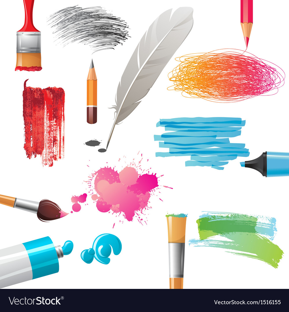 Drawing tools and banners vector | Price: 3 Credit (USD $3)
