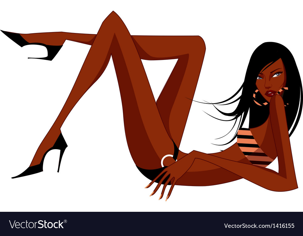 Exotic woman in a bikini vector | Price: 3 Credit (USD $3)