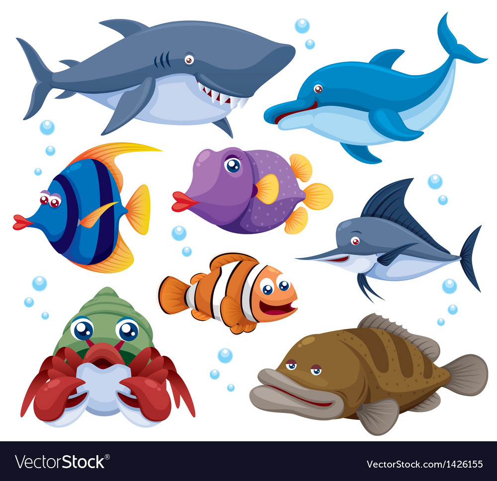 Fish sea set vector | Price: 3 Credit (USD $3)