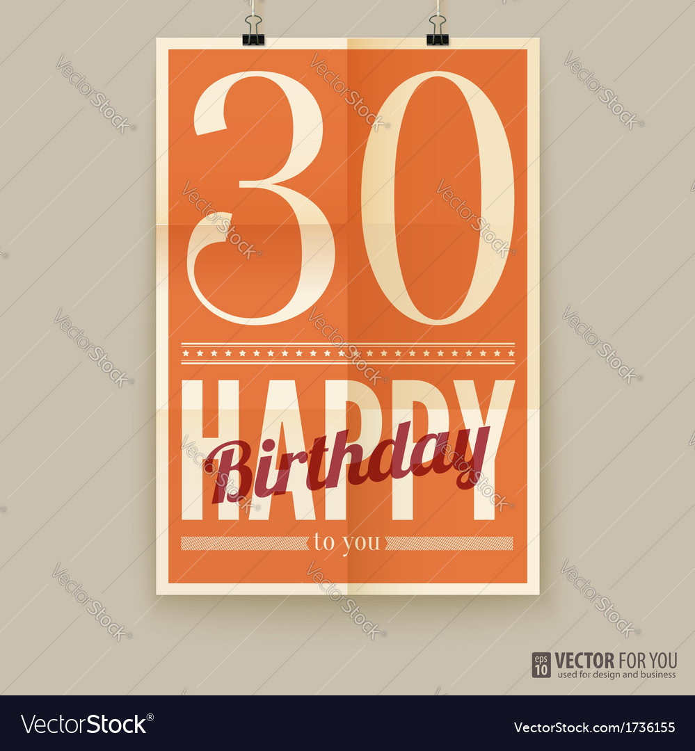 Happy birthday poster card thirty years old vector | Price: 1 Credit (USD $1)