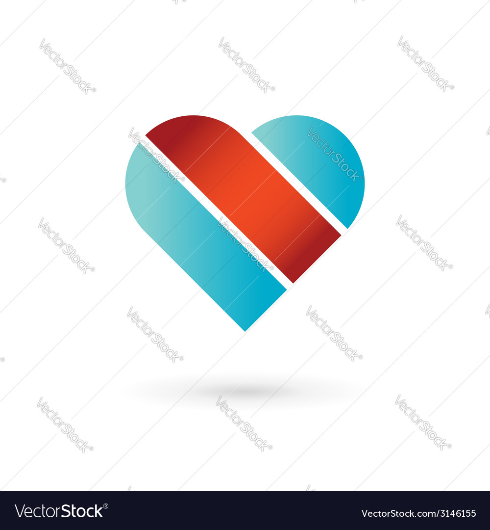 Heart and ribbon symbol logo icon vector | Price: 1 Credit (USD $1)