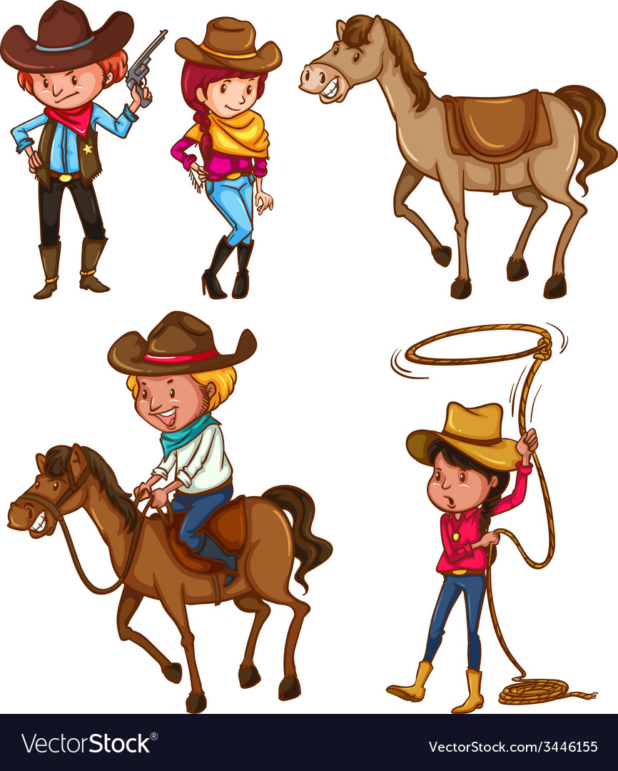 Male and female cowboys vector | Price: 5 Credit (USD $5)