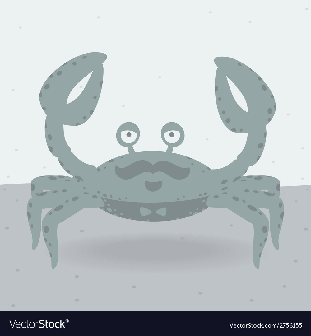 Merry crab on the beach vector | Price: 1 Credit (USD $1)