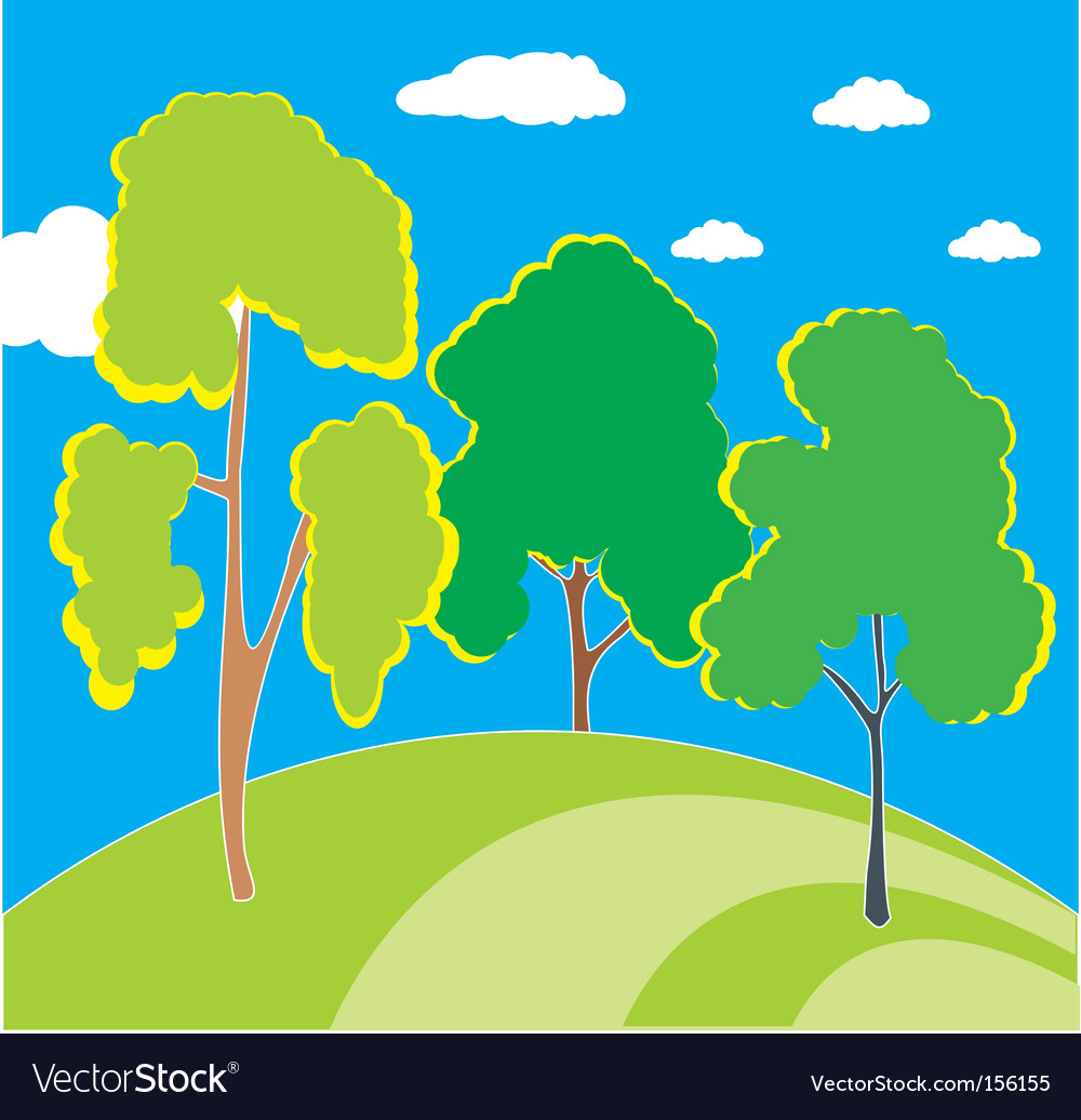 Trees on the hill vector | Price: 1 Credit (USD $1)
