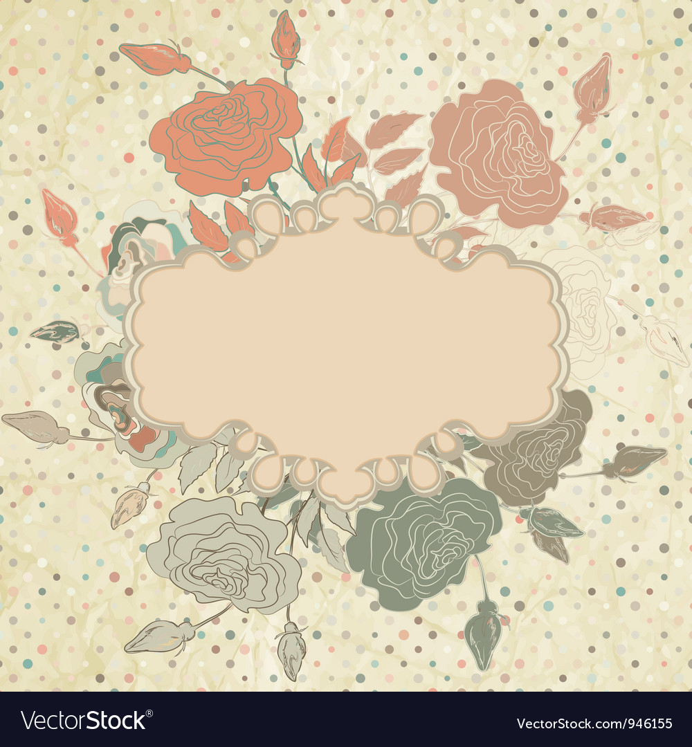 Vintage roses floral card vector | Price: 1 Credit (USD $1)