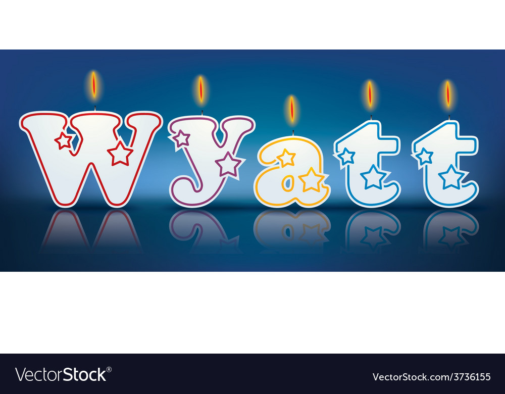Wyatt written with burning candles vector | Price: 1 Credit (USD $1)