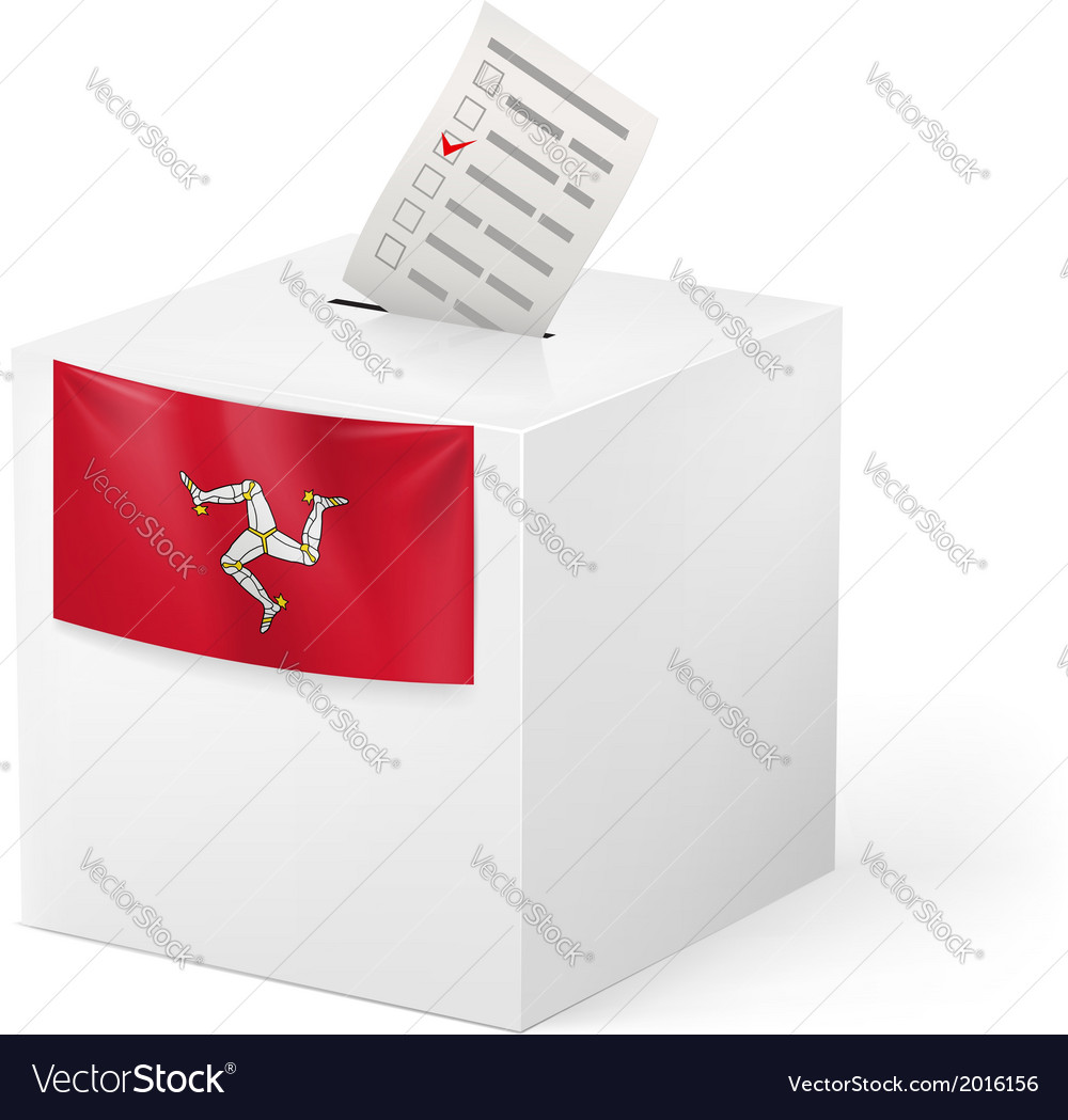 Ballot box with voting paper isle of man vector | Price: 1 Credit (USD $1)