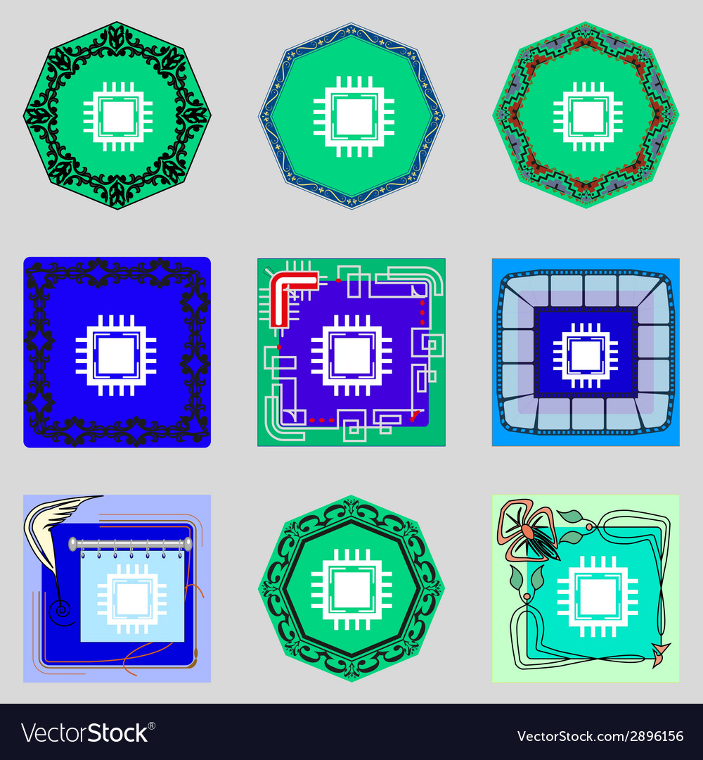 Central processing unit icon technology scheme vector   Price: 1 Credit (USD $1)